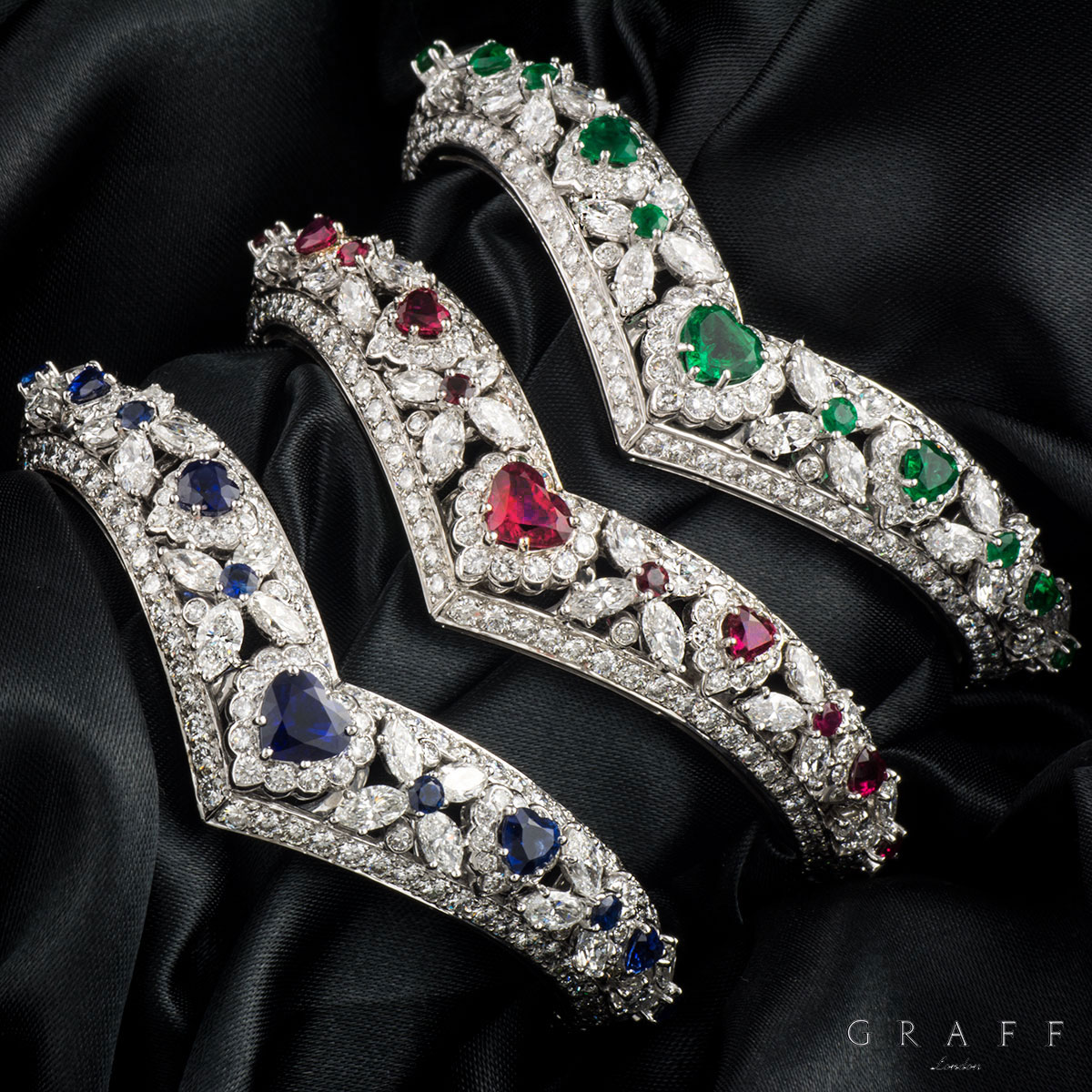 Graff Diamond, Emerald, Ruby & Sapphire Set Bangles